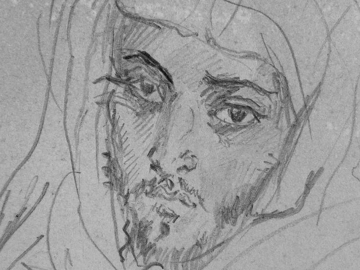 CHASSERIAU Théodore,1846 - Deux Arabes assis - drawing - Détail 09 - Dignité triste - Sad dignity -