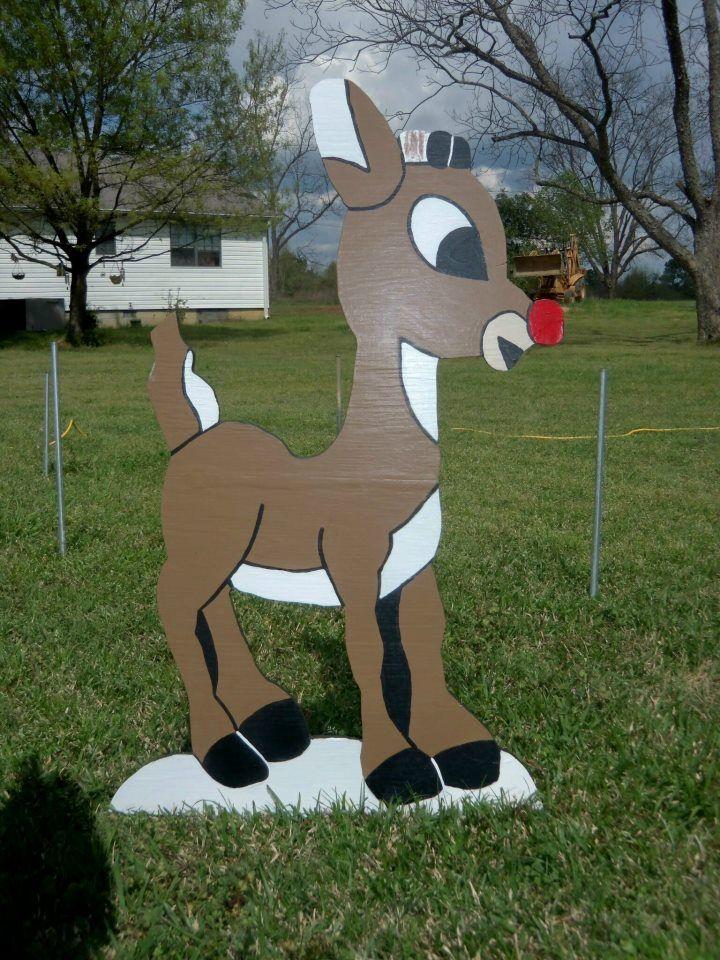 "Rudolph Wood Yard Art Decoration Christmas Holiday 40""  yard decorations"