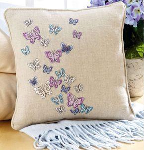 декоративная диванная подушка с вышивкой крестом, простая и удобная цветная схема, цветовой ключ к схеме, подушка с бабочками, бабочка вышивка крестом
