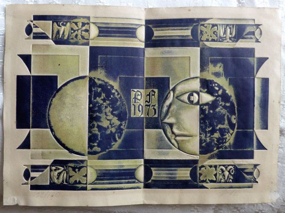 Vintage 1973 art work by the famous Lithuanian by valerijonai