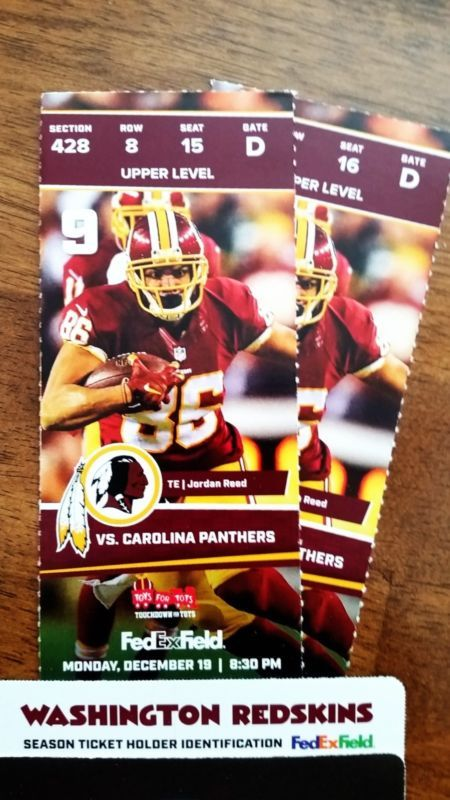 START THE HOLIDAY SEASON WITH MONDAY NIGHT FOOTBALL Watch from the stands instead of TV !!! Monday - December 19 - 8:30 PM Washington REDSKINS vs. Car... #section #field #tickets #panthers #redskins