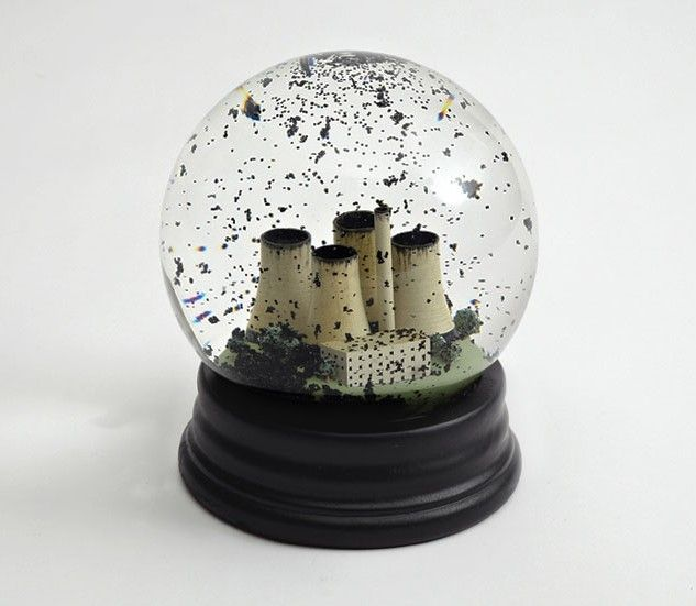 'No Globes' from We Are Dorothy. Snow globes re-imagined as coal dust globes – example of social comment through design