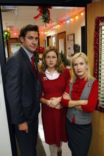 Still of Jenna Fischer, John Krasinski and Angela Kinsey in The Office (2005)