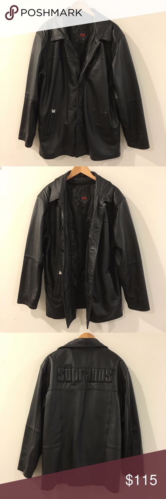 Sopranos HBO Leather Jacket - Size XL Sopranos HBO Leather Jacket - Size XL This is genuine leather and it very heavy for a leather jacket - the jacket is Very Good Condition Exterior - Interior have sign of wear and small damage on the gauche (photo 8). Season: Fall/Winter Pattern: Pebble Back Length: 29inch Underarm to underarm: 23inch Product Code: RN 107744 Country/Region of Manufacture: China Hbo Jackets & Coats Bomber & Varsity