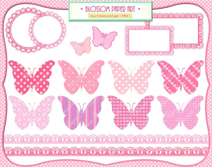 Free Printable Baby Clip Art | Baby Girl Butterflies - Pink - Baby Shower - Printables - Invitations ...