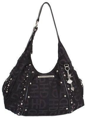 Harley-Davidson® Women's Jacquard Hobo Studded Leather Purse Bag HD3426J-BLACK