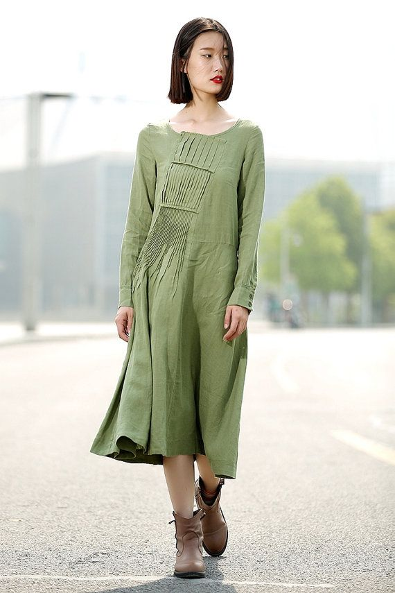 Green dress women Long Sleeve linen Dress C343 by YL1dress