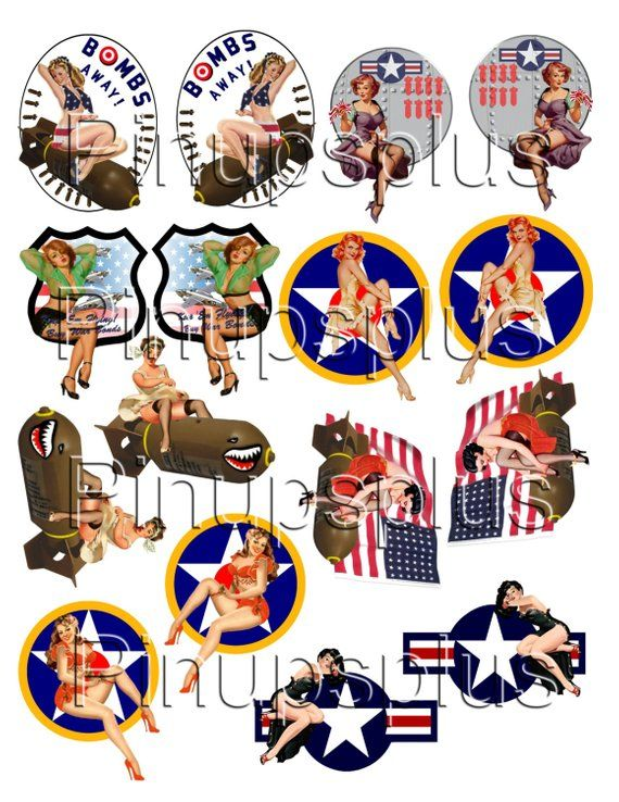 WWII Pinup Model Building RC Plane Nose Art decals 8 pair No