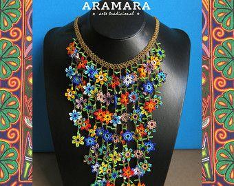 Mexicana Huichol Peyote flor de collar y pendientes por Aramara