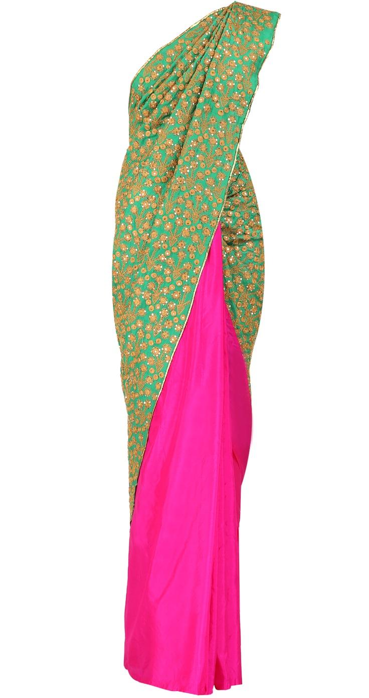 MASABA  Green & pink heavy palla embroidered saree
