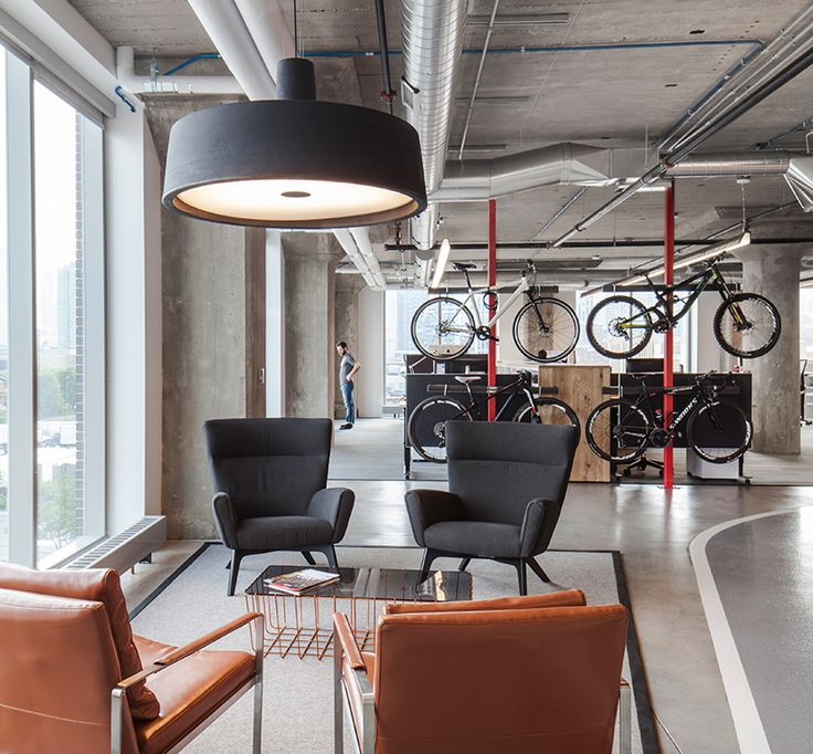perkins + will winds bicycle track through SRAM's chicago HQ