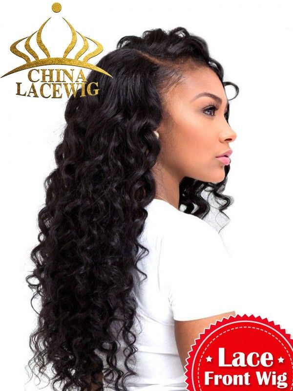 Chinalacewig Fashion human hair Lace wigs Deep Wave Lace Front Human Hair Wigs With Natural Hairline For Women CF157