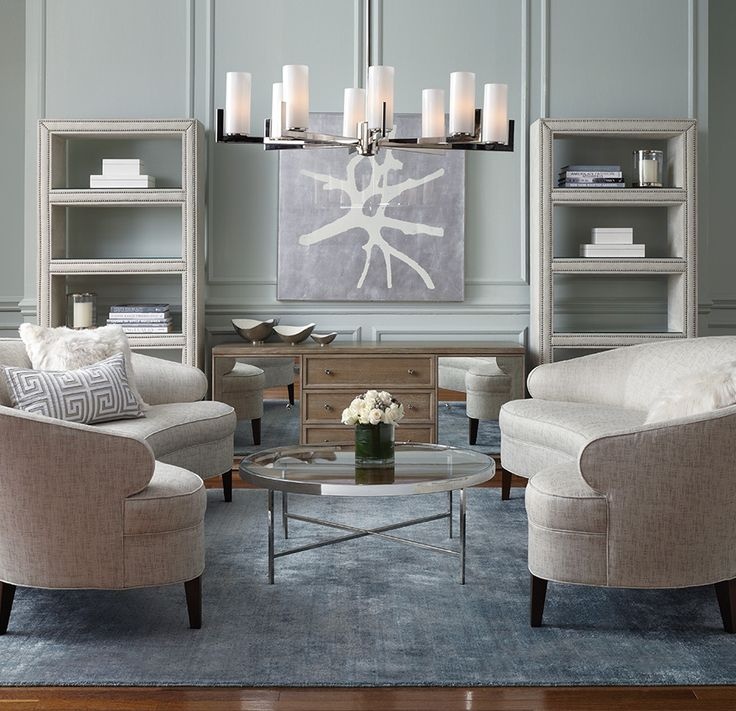 "I'm in love!!!  My dream sofa. I love curved sofas, and the combo of two around a circular table like this.  I love the chandelier above too. But this would have to be a room for no cats though!    Mitchell Gold VERA 89"" SOFA"