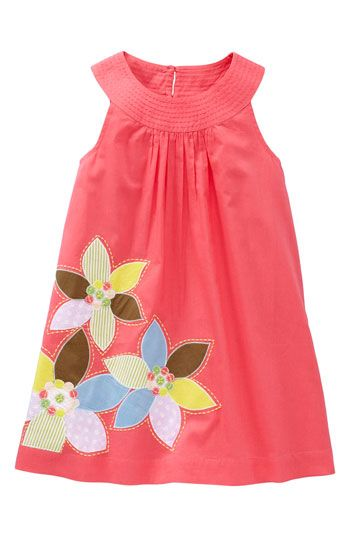 """$54.00 """"Pretty Applique Dress"""" Only Ruby & Felicity's sizes. Color """"lipstick"""". Mini Boden at Nordstroms."""