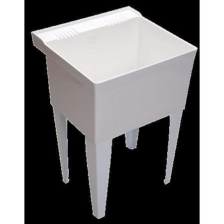 """Proflo PFLT2123W 23"""" Single Compartment Wall Mounted Laundry Sink White Fixture Laundry Sink"""