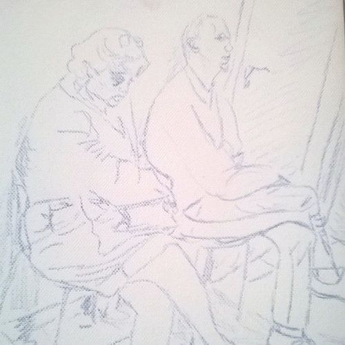 Waiting for a doctor - sketch  #pencil #painting #canvas #sketch #people #art #artist #original #sylchra