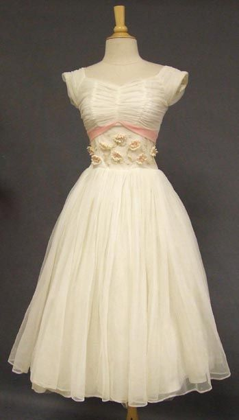 Ivory & Pink Chiffon 1950's Party Dress w/ Appliqued Waistband