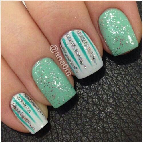 Turquoise, white and silver nails - 77 Best Cute Girly Nails Images On Pinterest Nail Art, Nail Design