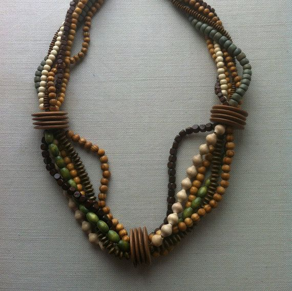 Designer bulk wooden multistrand multicolor OOAK necklace