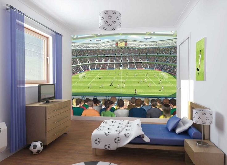 bedroom interior teens bedroom kids bedroom football stadium poster and tv on wooden cabinet in soccer themed bedroom fascinating decorating ideas for boys - Boy Bedroom Decor Ideas
