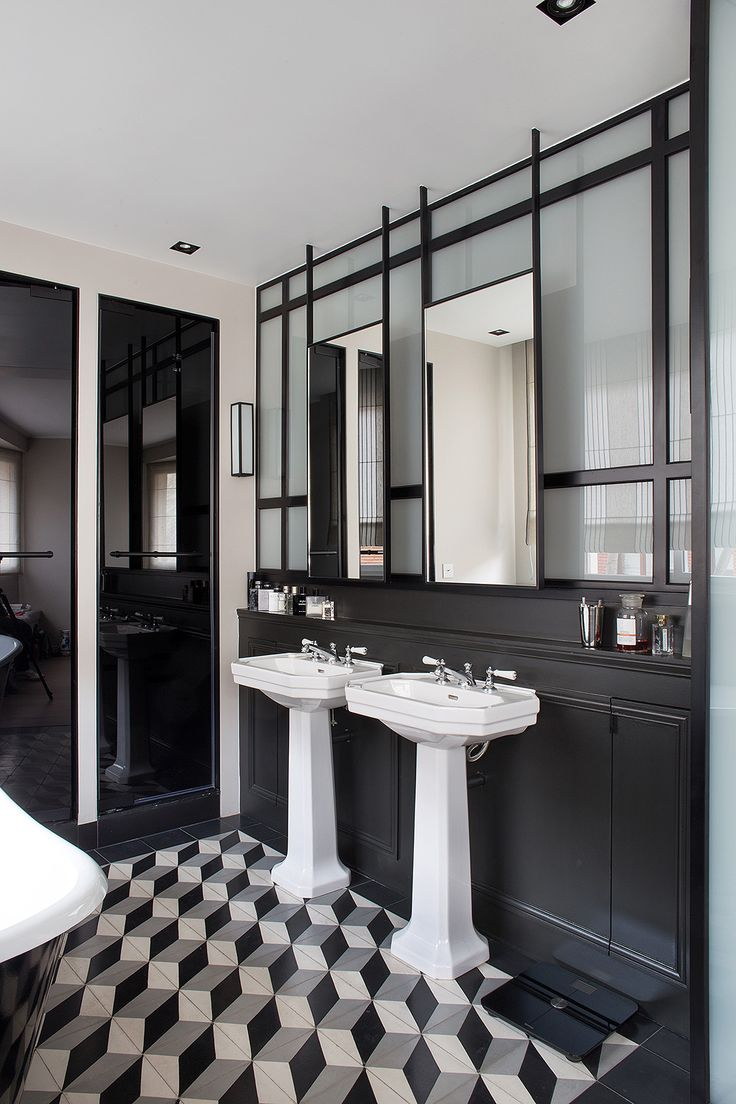 Black and white art deco bathroom - The Iron Work Behind The Mirrors On This Bathroom Vanity Is Bananas Private Project Management Complete Renovation Of A Mansion In Art Deco Style In
