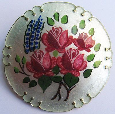Norway Hallmarked Vintage Gold Wash Sterling Colorful Enamel Flower Garden Pin | eBay