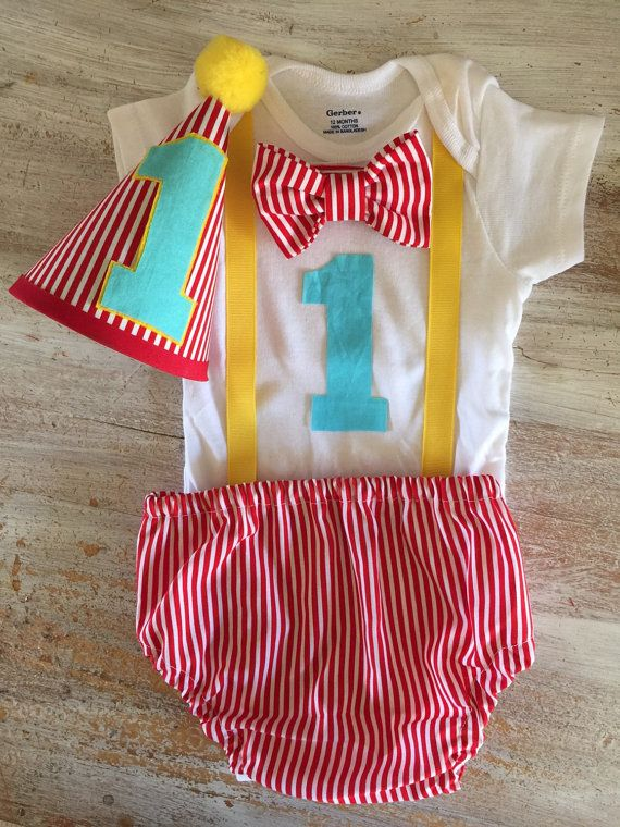 Colorful Circus Carnival Themed Striped Cake Smash Outfit with Onesie 1st Birthday First Birthday Carnival Set w/Party Hat and Bow Tie