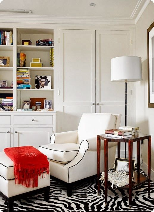 Animal Prints Decor in House {Guest Post} at Kirsty Girl  White Living Room with Zebra Print Floor: Idea, Reading Area, Cozy Corner, Built In, Reading Corner, Reading Nooks, Reading Chairs, Zebras Prints, Contemporary Living Rooms