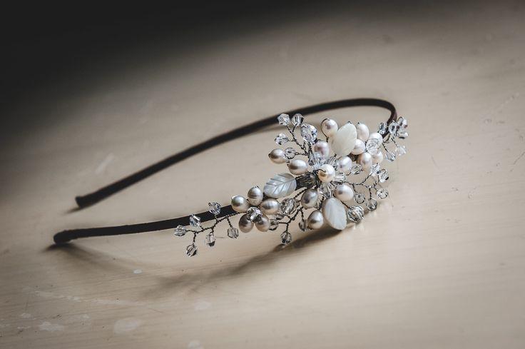 Stunning freshwater pearl bridal tiara, bridal headpiece, bridal hair accessories, bridal hair piece, bridal hairband, wedding hair piece by VHbridal on Etsy https://www.etsy.com/listing/212391317/stunning-freshwater-pearl-bridal-tiara