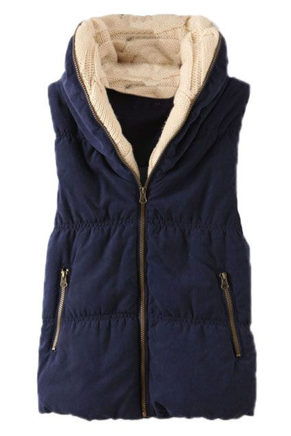 Cable Knit Hooded Navy-blue Vest