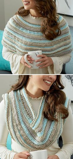 Free Knitting Pattern for Cozy Shoulders Poncho Cowl - Knit in welt stitch with self-striping yarn this can be worn around the shoulders or the neck depending on what needs extra warmth or style. Designed by Karen Whooley for Red Heart