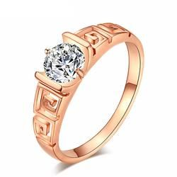 CZ Hollowed-out Gold Plated Wedding Ring (Austrian Crystal)