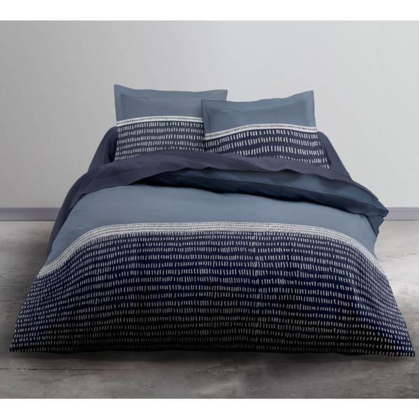 Housse De Couette Bluegraf Gris Bleu 220x240cm 2 Personnes 100 Coton Housse De Couette Parure Housse De Couette Parure De Couette