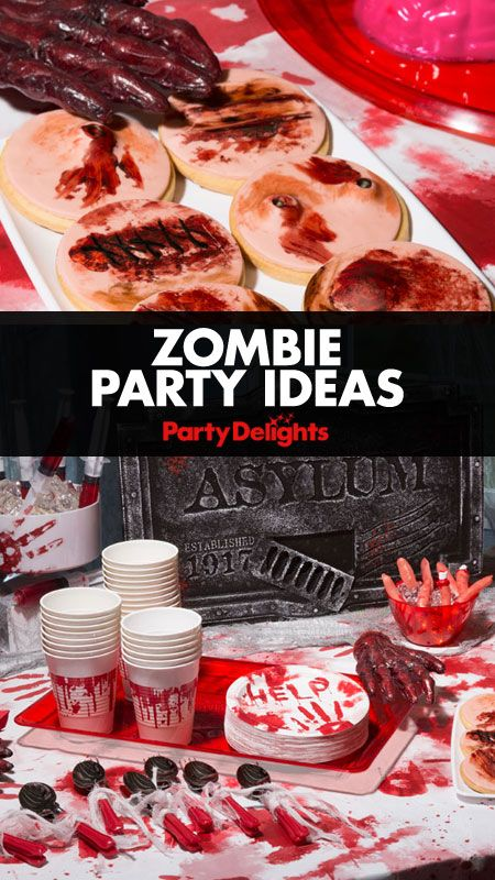 Read our zombie party ideas to find out how to throw a gruesome and gory zombie Halloween party. Find zombie party decorations, party food ideas, zombie party games and more.