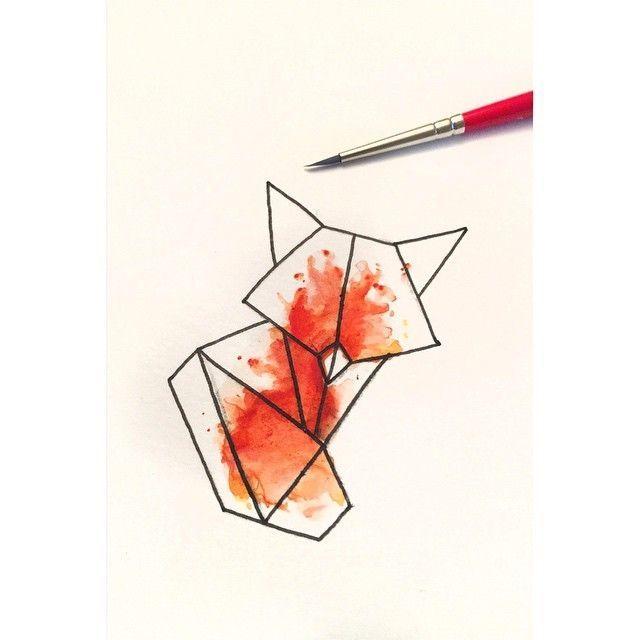 Small geometric fox figure on orange watercolor background tattoo design