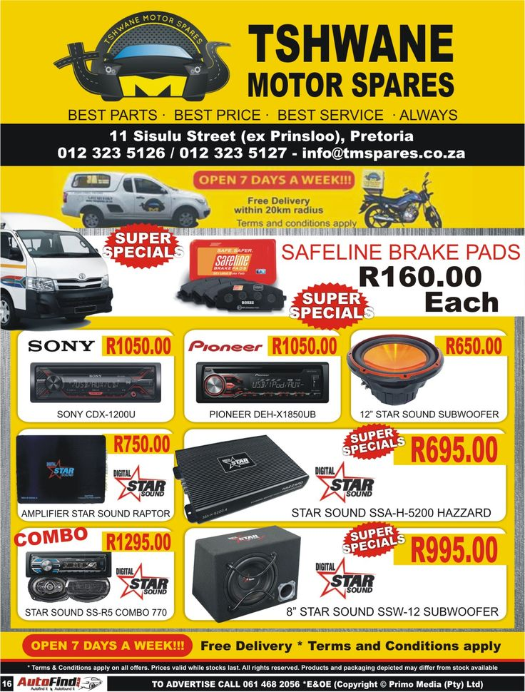 #Tshwane #Motor #Spares - Best Parts - Best Price - Best Service - Always.  Contact us today on 012 323 5126 or 012 323 5127