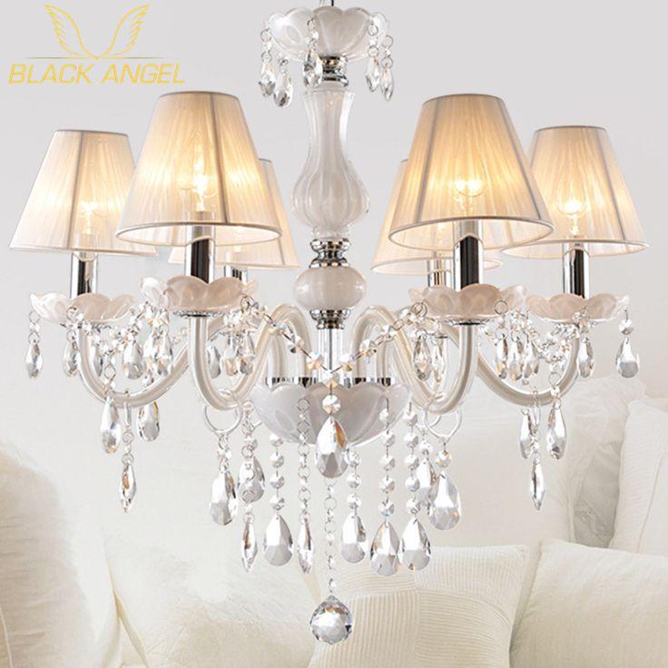 Новый Современный Белый хрустальные люстры для Гостиной Спальня крытый лампа кристалл K9 люстры де teto потолочная люстра купить на AliExpress