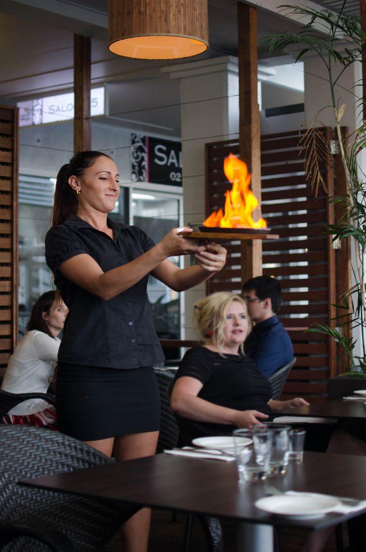 Flaming haloumi at Salt Bar Kingscliff | heneedsfood.com