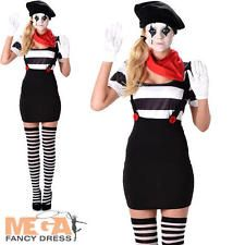 Mime Artist Ladies Fancy Dress French Circus Carnival Womens Adult Costume New