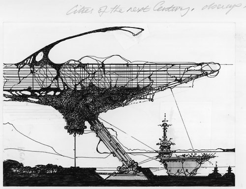 """Plug-in City"" Archigram ( Warren Chalk, Peter Cook, Dennis Crompton, David Greene, Ron Herron and Michael Webb ), 1961"