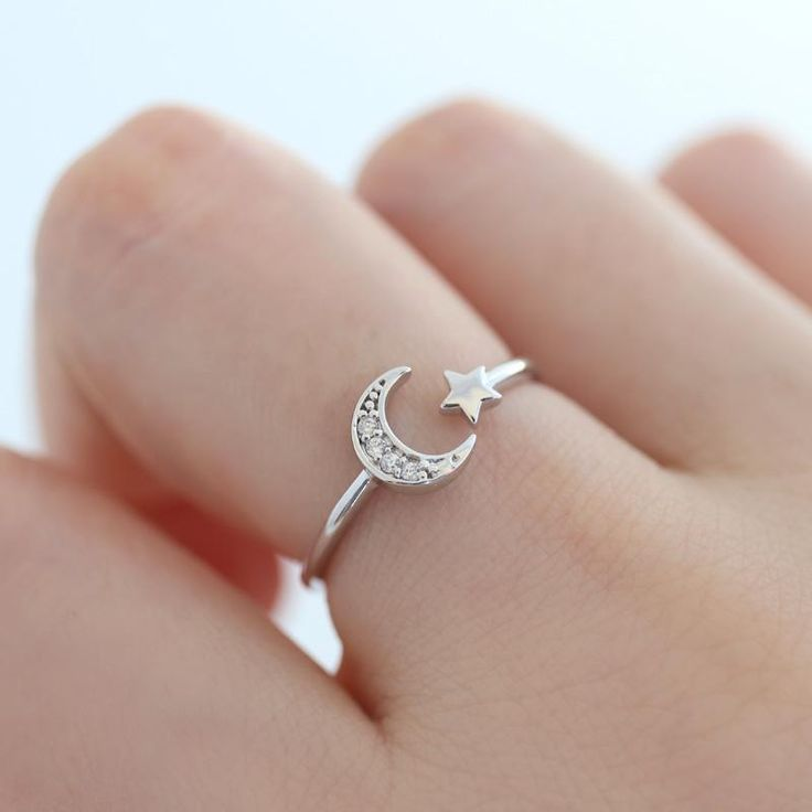 Sterling Silver Crescent Moon Star Open Ring