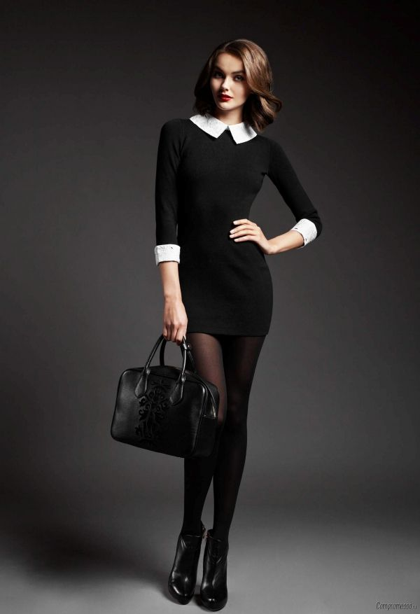 С чем носить черное платье с белым воротником