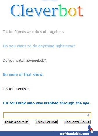 NO CLEVERBOT... ITS EDWARD WHO WAS STABBED FRANK IS NOT EVEN IN DIVERGANT!!!!