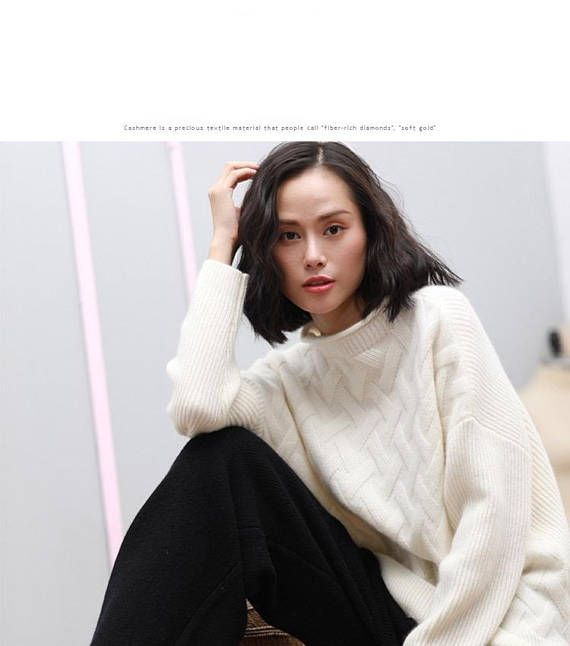 2017 New Style Autumn Oversized White Sweater Pure Cashmere