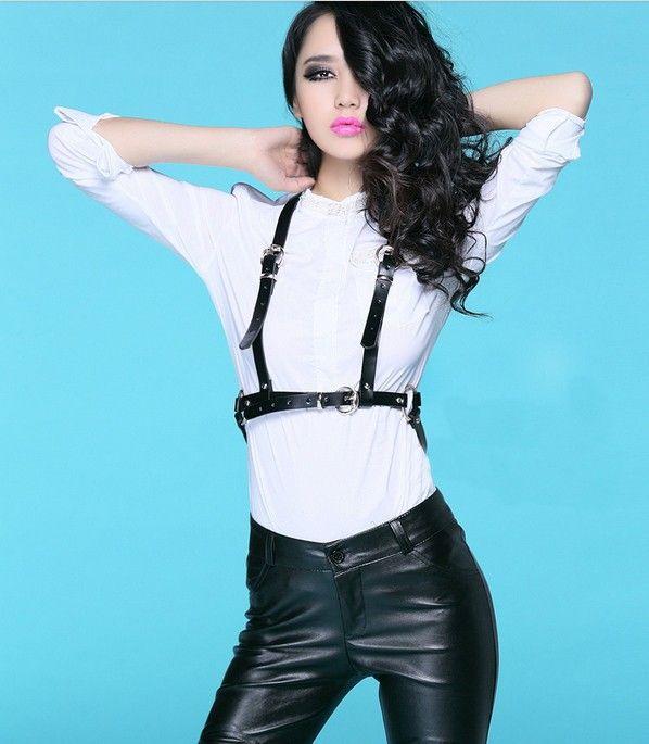 2015 панк стиль женщин из натуральной кожи подтяжки черный кросс тканые ремни заклепки фиксированной пряжкой подтяжками аксессуаров MOS008 купить на AliExpress