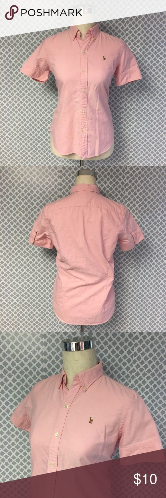 ⭐️🆕⭐️ Ralph Lauren Sport Button Down Oxford Shirt Excellent condition - women's size medium slim fit pink Ralph Lauren Polo sport short sleeve Button Down Oxford shirt. Pit to Pit measures 19in shoulder to Hem 24in Ralph Lauren Sport Tops Button Down Shirts
