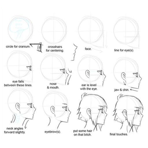 Anime Zeichnen Lernen Ideen Fur Das Skizzen Zeichnungen Charakterdesign Kopf Menschen Verschiedenes Manga Malen