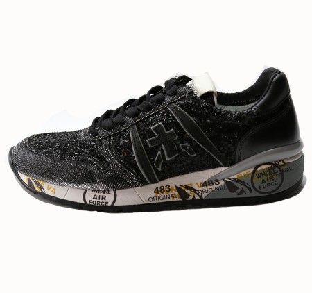 Shop Premiata White  Scarpe: Sneakers Diane Premiata White in pelle e tessuto, con glitter nero e grigio.