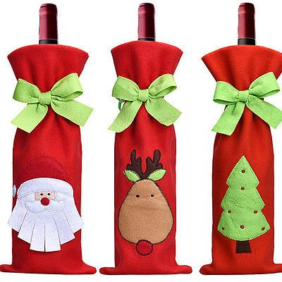 Décorations De Noël Rouge Père Noël Arbre Bouteille De Vin Housse Sacs