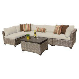 $1200 TK Classics Monterey Wicker 6 Piece Patio Conversation Set with 2 Sets of Cushion Covers